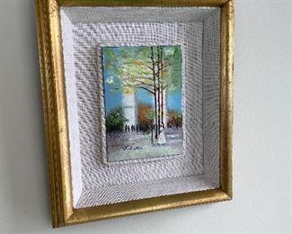 "Framed Artwork - Tile Art- Linen matted. Gold frame. Framed measures 14"" x 12"" and the art itself 7"" x 5"""