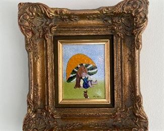 """Framed Tile Art by Mimi - 9""""x10"""" in an elaborate gold frame."""