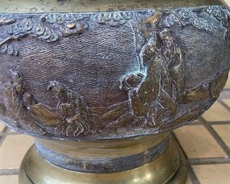"""Brass Asian Inspired Planter. Some water marks and oxidation, but still a great piece! Measures 9.5"""" H x 10"""" W"""