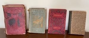 This lot includes four wonderful books. Longfellow, Shelley-Keats Nicolson and Mary E. Burt are some of the authors. The American Star Speaker book is in poor condition. The tallest book is eight inches.