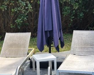 Hampton Bay lounge chairs and 8' weighted umbrella