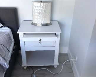 Bedroom nightstands and pair of capiz shell lamps