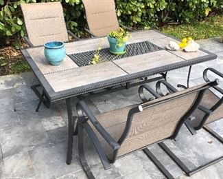 Outdoor dining set with 6 chairs (4 shown)