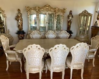"""Marble top Italian / French provincial style dining table and 8 chairs $4,500 Italian rococo marble top with 8 chairs.  New condition. Measurements: 87 x 45"""""""
