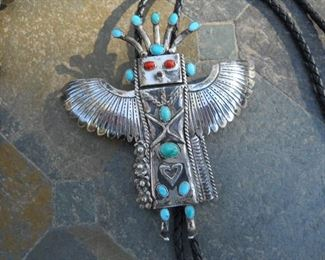 Native American 14 oval Cabachon stone Turquoise stones Coral makes the eyes 115mm 108 mm wide Bolo tie signed JVB