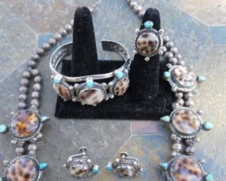 Squash Blossom  Rare Cowry shell with Turquoise Turtle hand made Native American Matching Earring come with necklace Bracelet sold seperate