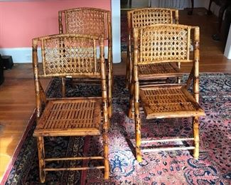 4 tortoise rattan and cane folding chairs