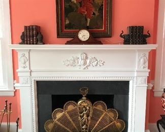 Large brass peacock fireplace screen, Large needlepoint, brass fenders, fireplace tools and andirons