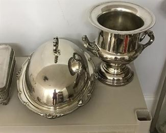 Several pieces of silverplated serving platters, barware, bowls
