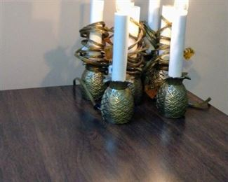 Electric brass pineapple candlesticks in working order