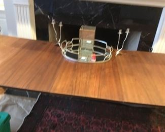 Contemporary dining table, mirrored center piece and candlesticks