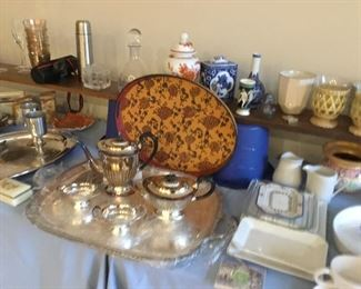 Plate tea set and large tray
