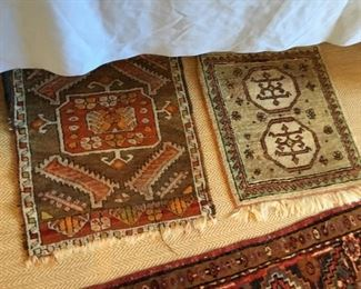 Two vintage small prayer rugs