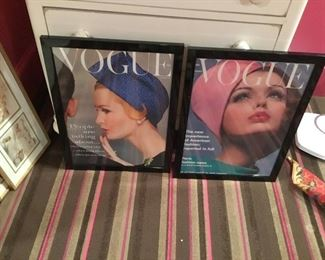 Two framed large Vogue covers