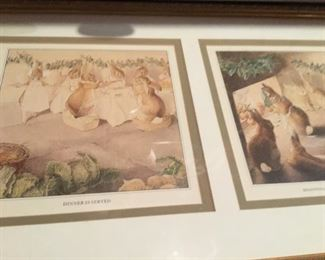 Framed nursery rabbit prints