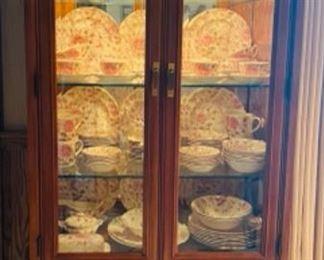 Rose chintz dishes plus rose glassware