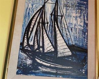 Huge Bernard Buffet sailboat art