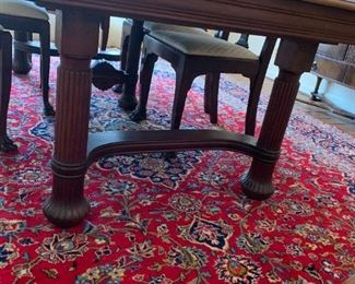 #6	Dining Table w/6 chairs & 3 leaves (2 captains chairs) 44-82x44x29  (has third leg in center)	 $300.00