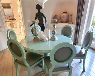 Custom blue/green dining set