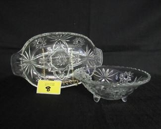 Lot of 2 prescut glass dishes