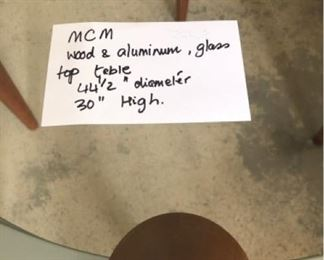 MCM Wood, aluminum, and glass high table $125 (Photo 1/3)