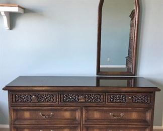 """Red Lion Furniture Co 7 drawer dresser with mirror. 88"""" wide, 20"""" deep."""