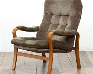 Mid Century Wood Framed Gray-Green Corduroy Arm Chair