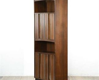 Mid-Century Style Tall Cabinet With Metallic Accents