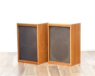 Pair Of Acoustic Brand Natural Cabinet Speakers