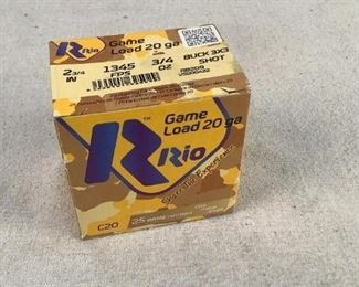 Mfg - (25) Rio Game Load Model - Buckshot 20 GA Located in Chattanooga, TN Condition - 1 - New This is a 25 count box of Rio Game Load 20 Gauge Buck 3x3 Shot shotshells, ideal for hunting.