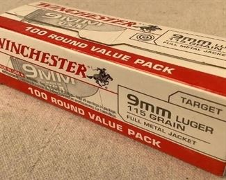 Mfg - (100) Winchester 9mm Model - Luger ammunition Located in Chattanooga, TN Condition - 1 - New This lot contains one 100 round box of Winchester 9mm Luger ammunition 115 grain full metal jacket bullet.