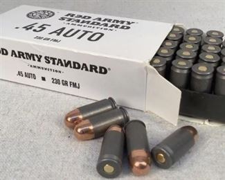 Mfg - (50) Red Army Standard Model - .45 Auto ammunition Located in Chattanooga, TN Condition - 1 - New This lot contains one 50 round box of Red Army Standard .45 Auto ammunition. 230 grain full metal jacket.