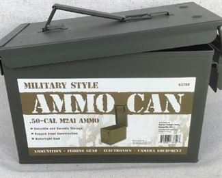 Mfg - .50-Cal M2A1 Model - style steel ammo can Caliber - (EMPTY) Located in Chattanooga, TN Condition - 3 - Light Wear This lot contains one military style .50-Cal M2A1 ammo can. ***THIS AMMO CAN IS EMPTY, IT IS JUST THE CAN***