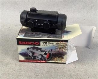 Mfg - Tasco 1X32mm Model - Red Dot Scope Located in Chattanooga, TN Condition - 1 - New Tasco 1X32 Red Dot scopes. Has a solar power panel to help reduce battery consumption.