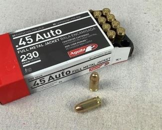 Mfg - (50) Aguila 230gr Model - 45 Auto FMJ Ammo Located in Chattanooga, TN Condition - 1 - New This is a 50 count box of Aguila 230 grain 45 ACP FMJ ammo, ideal for range or training purposes.