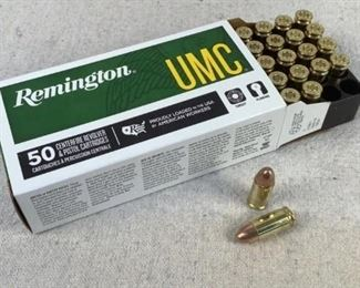 Mfg - (50) Remington UMC Model - 115gr 9mm Luger FMJ Caliber - Ammo Located in Chattanooga, TN Condition - 1 - New This is a 50 count box of Remington UMC 115 grain 9mm luger FMJ ammo, ideal for range/training purposes.