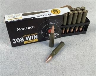 Mfg - (20) Monarch 145gr Model - Steel Cased 308 Win Caliber - Ammo Located in Chattanooga, TN Condition - 1 - New This is a 20 count box of Monarch 145 grain Steel cased 308 Win FMJ ammo, ideal for range/training purposes.