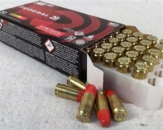 Mfg - (50) Federal Syntech Model - 9mm Luger ammunition Located in Chattanooga, TN Condition - 1 - New This lot contains one 50 round box of Federal 9mm Luger ammunition. 150 grain total synthetic jacket bullet.
