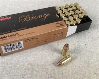 Mfg - (50) PMC Bronze Model - 124gr 9mm Luger FMJ Caliber - Ammo Located in Chattanooga, TN Condition - 1 - New This is a 50 count box of PMC Bronze 124 grain 9mm Luger FMJ ammo, ideal for traning/range purposes.