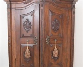 """Antique French Provincial Wardrobe Velvet lined interior, beloved to be a breakfront but cannot confirm. Approx. 78""""H x 63.5""""W x 20.5""""D Good condition for age"""