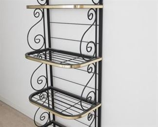 "Black Metal Bakers Rack. 4 shelves, black with gold trim.  69""H x 24""W x 13""D. Good condition"