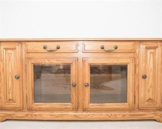 """Winners Only Entertainment Stand. 2 side compartments for DVD storage and 2 glass doors for component storage. Good condition. Very solid and heavy.  2-3 people to lift. 29.5""""H x 62""""W x 21""""D"""