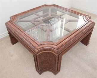 Traditional Style Fretworked Coffee Table. Glass top. Has cracking  in 2 legs. See photos for details.