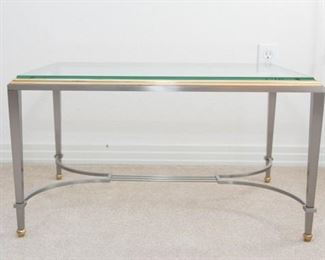 """Glass and Iron Coffee/Side Table. Heavy iron frame with 3/4""""thick rectangle  glass top. Good condition. 15""""H x 28""""W x 19""""D"""