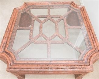 Glass top. Has cracking  in 2 legs. See photos for details.