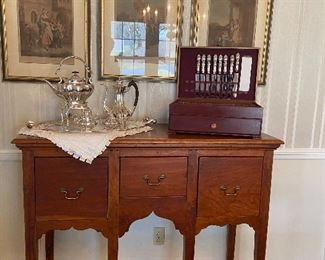 Bucks Co. PA hand made sideboard, silver plated hostess service, sterling flatware