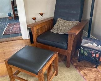 Stickley mission chair with ottoman