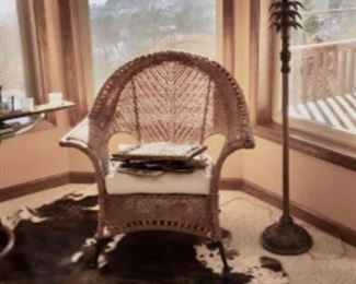 Cowhide Rug & Wicker Chair