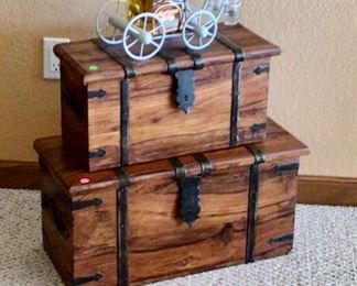 Wooden Trunks & a Liquor Decanter