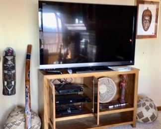 Didgeridoo from Australia, Tribal Mask, Gorgeous Baskets, Flat Screen TV & TV Cabinet